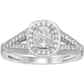 Love Cuts 14K White Gold 1/2 CTW Cushion Cut Engagement Ring