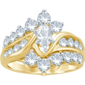 14K Yellow Gold 2 CTW Marquise and Round Diamond Bridal Set