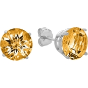 10K White Gold Citrine Round Checkerboard Cut Stud Earrings