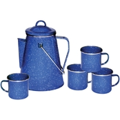 Stansport Enamel 8-Cup Coffee Pot With Percolator and Four 12 oz. Mugs