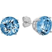 10K White Gold London Blue Topaz Round Checkerboard Cut Stud Earrings