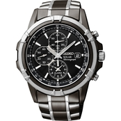Seiko Men's Stainless Steel Solar Watch Black Dial SSC143