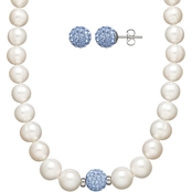 Sterling Silver Freshwater Cultured Pearl and Blue Crystal Necklace & Earrings Set