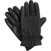 Isotoner Men's smarTouch Stretch Textured Faux Nappa Gloves