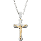 Black & Blue Stainless Steel with Yellow/Black IP Plating Diamond Accent Crucifix
