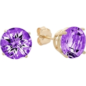 10K Yellow Gold Amethyst Round Checkerboard Cut Stud Earrings