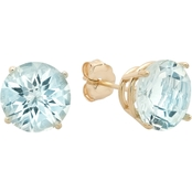 10K Yellow Gold Aquamarine Round Checkerboard Cut Stud Earrings
