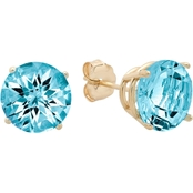 10K Yellow Gold Blue Topaz Round Checkerboard Cut Stud Earrings