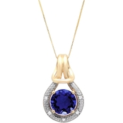 10K Yellow Gold Created Sapphire with Diamond Accent Love Knot Pendant