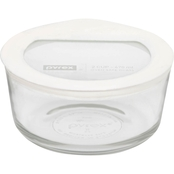 Pyrex 2 Cup Premium Glass Storage with Glass Lid with Silicone Rim
