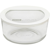 Pyrex 4 Cup Premium Glass Storage with Glass Lid with Silicone Rim