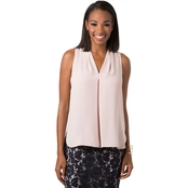 Vince Camuto Inverted Front Pleat V Neck Blouse