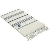 Linum Turkish Cotton Lucky Pestemal Towel, White with Stripes