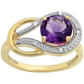 10K Yellow Gold Amethyst and Diamond Accent Ring