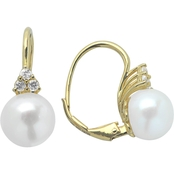 Imperial 14K Gold Plated Sterling Silver Cultured Pearl and White Topaz Earrings
