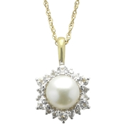 Imperial 14K Gold Plated Sterling Silver Cultured Pearl and White Topaz Pendant