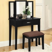Furniture of America Vanity Table With Mirror and Stool