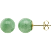 14K Yellow Gold Dyed Green Jadeite Stud Earrings