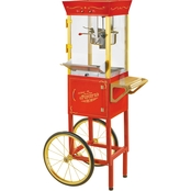Nostalgia CCP510 Professional Popcorn Cart - 8-oz. Kettle - 53 Inches Tall - Black