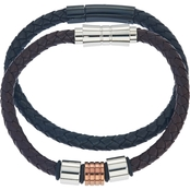 Leather and Stainless Steel Bracelet Set