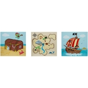 Pirates Island Wooden 3 pc. Wall Art Set