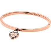 Michael Kors Logo Rose Goldtone Heart Bangle Bracelet