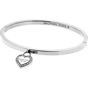 Michael Kors Logo Silvertone Heart Bangle Bracelet