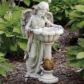 Joseph's Studio Angel with Solar Birdbath