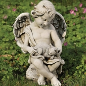 Joseph Studio Cherub with Kitten Garden Statuary