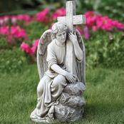 Joseph Studio Male Angel with Cross Garden Statuary