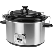 Kalorik Stainless Steel 8qt. Digital Slow Cooker with Locking Lid