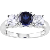 Sofia B. 10K White Gold Created White and Blue Sapphire Ring