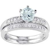 Sofia B. 10K White Gold 1/3 CTW Diamond and Aquamarine Bridal Ring Set