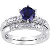 Sofia B. 10K White Gold 1/3 CTW Diamond and Created Blue Sapphire Bridal Set Ring