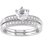 Sofia B. 10K White Gold 1/3 CTW Diamond and Created White Sapphire Bridal Ring Set