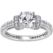 Sofia B. 10K White Gold 1/2 CTW Diamond and Created White Sapphire Engagement Ring