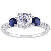 Sofia B. 10K White Gold 1/7 CTW Diamond and White and Blue Sapphire Fashion Ring