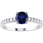 Sofia B. 10K White Gold 1/4 CTW Diamond and Created Blue Sapphire Fashion Ring