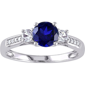 Sofia B. 10K White Gold 0.05 CTW Diamond and Created Blue and White Sapphire Ring