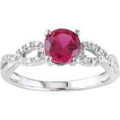 Sofia B. 10K White Gold 1/10 CTW Diamond and Created Ruby Fashion Ring