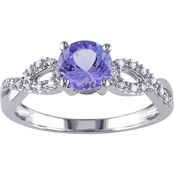 Sofia B. 10K White Gold 1/10 CTW Diamond and Tanzanite Fashion Ring