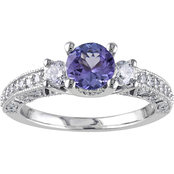 Sofia B. 14K White Gold 1/2 CTW Diamond and Tanzanite Fashion Ring