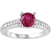 Sofia B. 10K White Gold 1/4 CTW Diamond and Created Ruby Fashion Ring