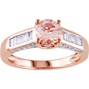 Sofia B. 14K Rose Gold 1/2 CTW Baguette & Round Diamond & Morganite Engagement Ring
