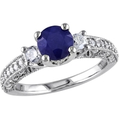 Sofia B. 14K White Gold 1/2 CTW Diamond and Diffused Sapphire Fashion Ring