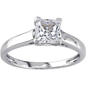 Sofia B. 10K White Gold Created White Sapphire Solitaire Ring