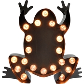 In My Garden Metal Lighted Frog Marquee Sign