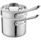 All-Clad Stainless 2 Qt. Saucepan With Porcelain Double Boiler Insert And Lid