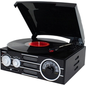 Jensen Retro 3 Speed Stereo Turntable with Radio