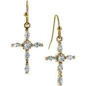 Symbols of Faith 14K Goldtone Crystal Cross Drop Earrings